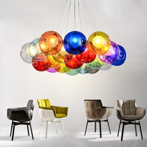 Novelty led living room chandelier Nordic modern minimalist multi-color glass children room lighting dining room hanging lamp