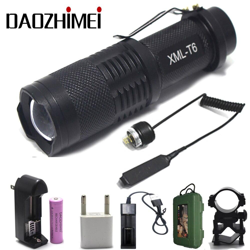 Highlight mini led flashlight SH98  XM-L T6 2000 lm 5-Mode White Light Zooming Flashlight - Black (1 x 18650)