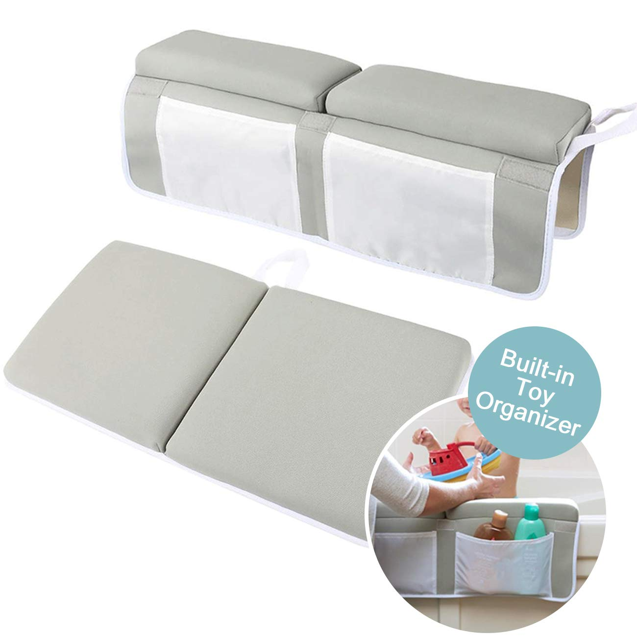 "MINIFUN Bath Kneeler with Elbow Rest Pad Set Soft Kneeling Cushion Mat Arm Support Pad for Bathtub 22"" x 27"""