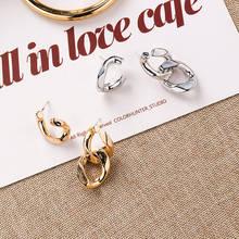 Boucles doreilles asymétriques à chaîne en métal pour hommes, Punk, Rock, or, argent, bijoux, boucle doreille