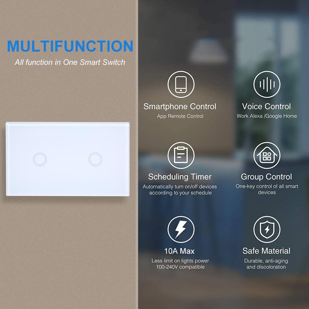واي فاي الذكية التي تعمل باللمس الجدار مفتاح الإضاءة لا سلك محايد اللازمة ل اليكسا جوجل المنزل واحد القطب 110 فولت-240 فولت
