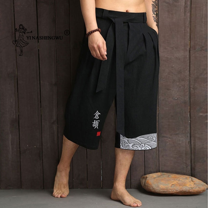 Japanese Kimono Traditional Pants Men Asian Clothing Bath Pant Casual Loose Male Japan Style Yukata Trousers Linen Cropped Pants
