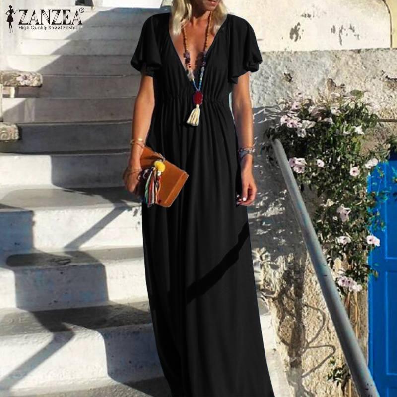 Женский клубный сарафан с глубоким v-образным вырезом ZANZEA, вечерние однотонные платья с коротким рукавом, длинное платье-макси, лето 2020
