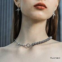 HUANZHI 2020 New Punk Chain Geometric Pearl Rhinestones Cross Clavicle Chain Necklace for Women Girls Wedding Jewelry