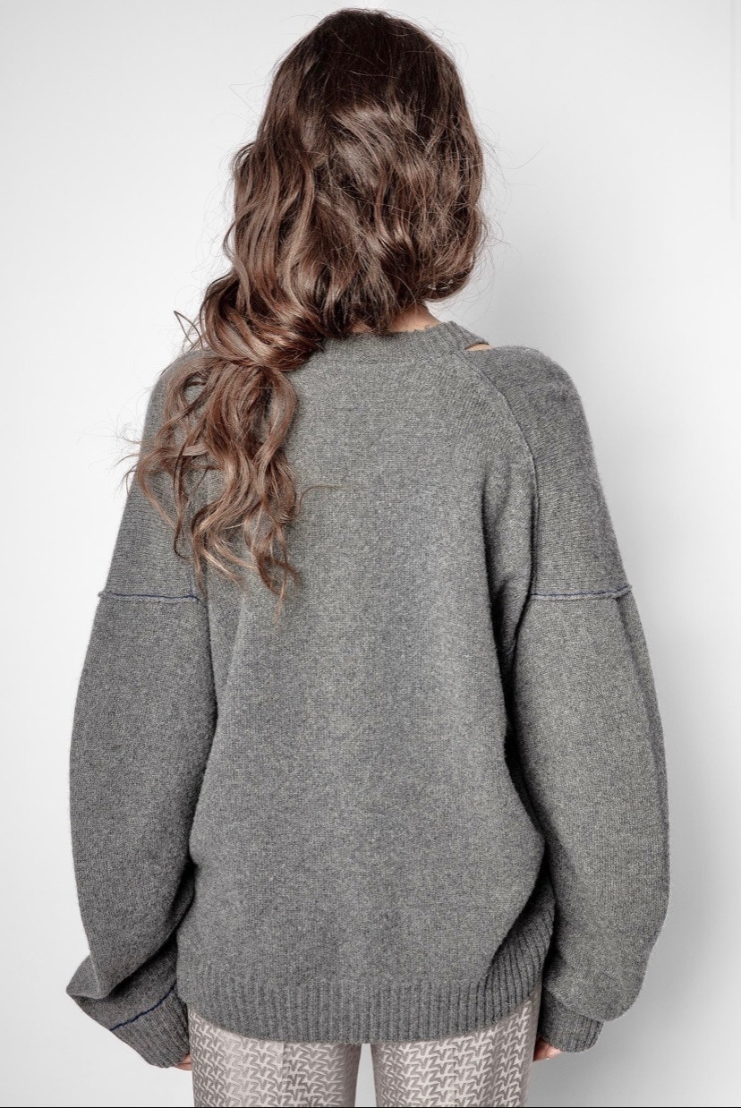 Fashion Women Sweater 2021 Fall and Winter Mink Cashmere Wool Blended Shoulder-curved Arc-sleeved Grey Loose Sweater enlarge