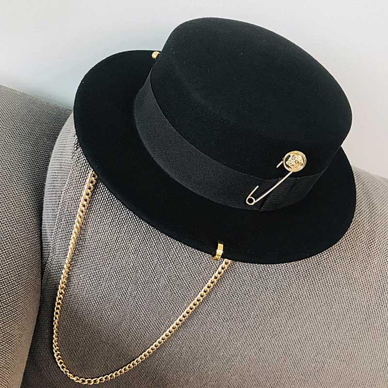 Fibonacci 2020 Fedora Hat Retro Wool Felt Hat Women European Punk Chain Novelty Flat Top Hats Men Cap Street Fashion Wild Trend