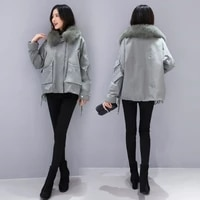 short pike foreign style down jacket 2020 new womens temperament loose and thickened white duck down coat with large fur collar