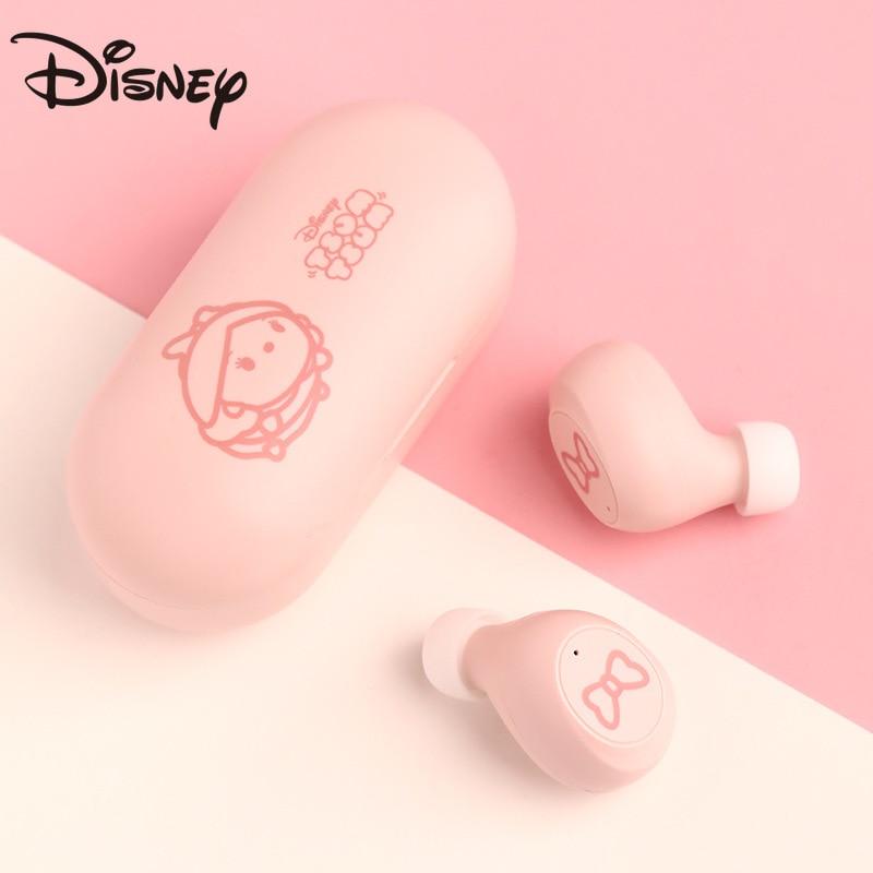 Fone de Ouvido Bluetooth com Microfone sem Fio Bonito para Iphone Disney Original Redução Ruído Menina Música Xiaomi