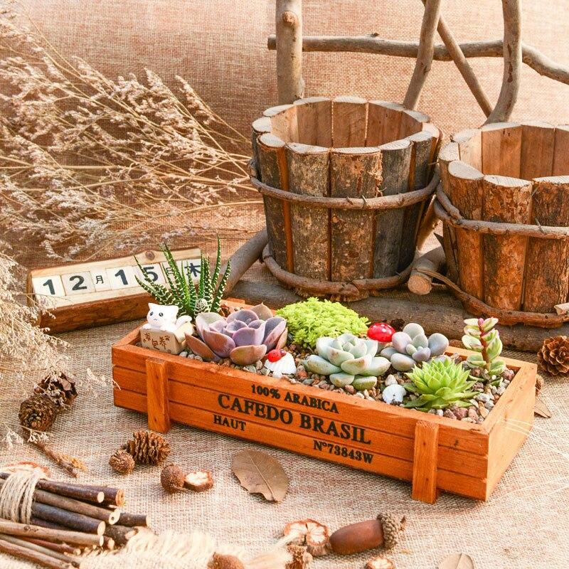Горшок для садового растения декоративный винтажный сочный плантатор деревянные ящики прямоугольник стол цветочный горшок садовые приборы Doniczka