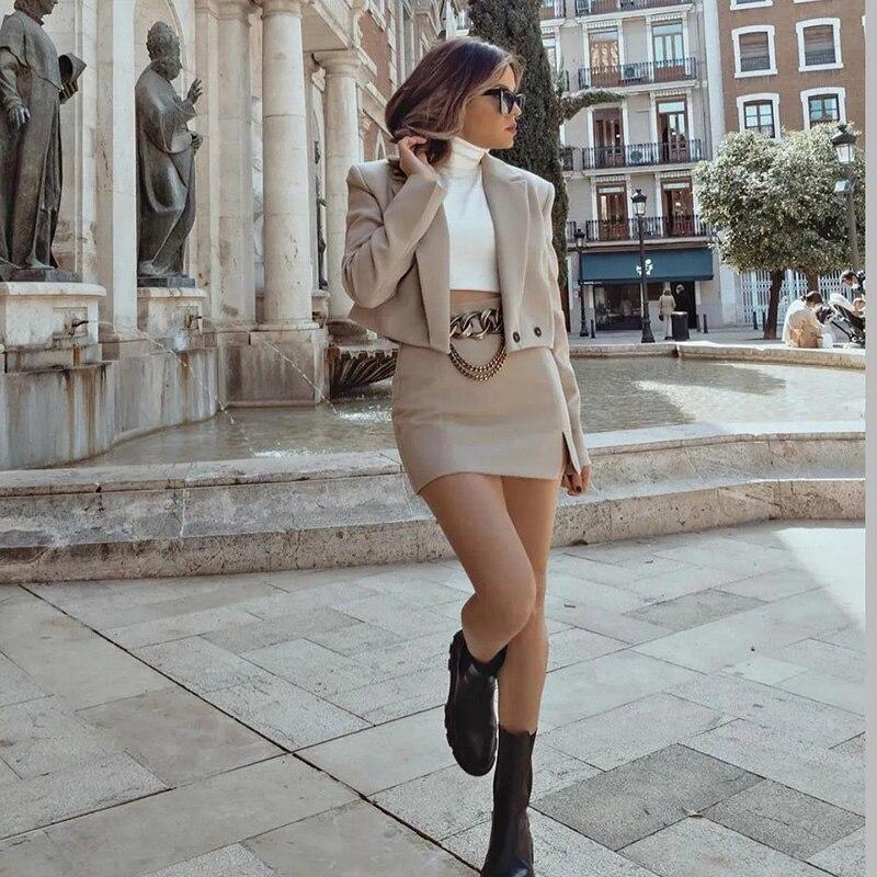Stylish Elegant Skirt Suits Women 2021 Fashion 2 Buttons Cropped Blazer Side Split Mini Skirts Suits Female Chic Sets