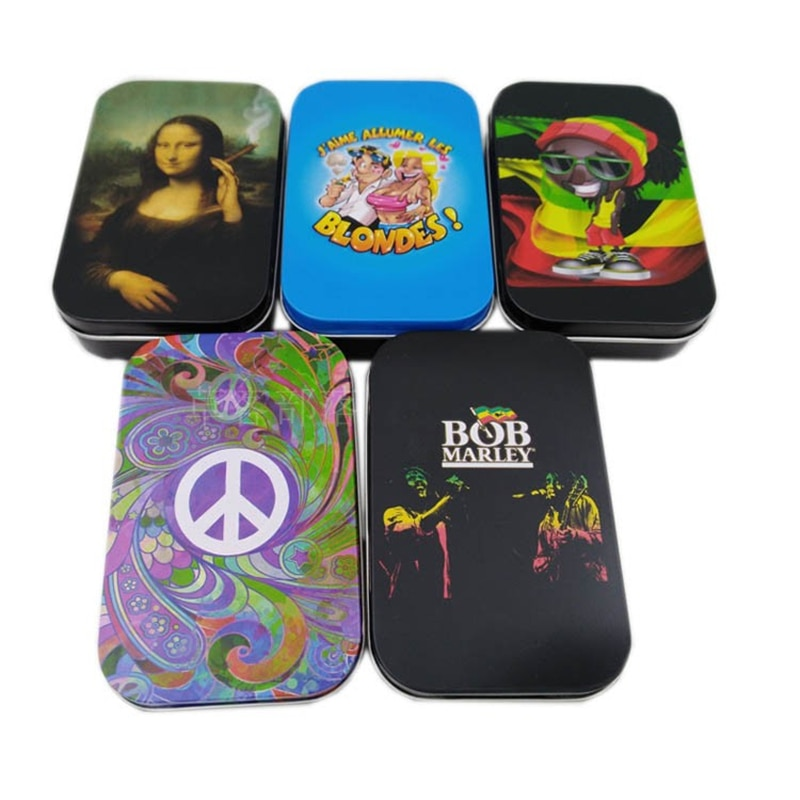 Divertida caja de hojalata portátil para cigarrillos, humidificador de tabaco, caja de papel rodante 20 piezas capacidad, estuche protector para fumar, Gadgets para hombre, regalo