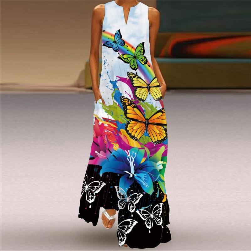 MOVOKAKA Rainbow butterfly Print Dress 2021 Elegant Casual Plus Size Long Dresses Summer Beach Sleeveless Girls Maxi Dress Women girls rainbow print striped dress