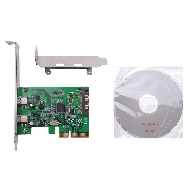 PCIE إلى USB3.1 Type-C بطاقة الناهض PCI-E USB3.1 المتوسع ASM1142 2-مهايئ منفذ بطاقة ل PCI-E4X PCI-E8X PCI-E16X