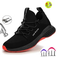 steel toe safety shoes industrial construction puncture proof summer men women breathable mesh work shoes protective footwear