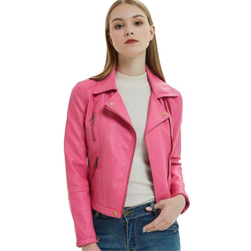 Chaqueta de motociclista de piel sintética con cremallera, color rosa, cremallera oblicua, para mujer
