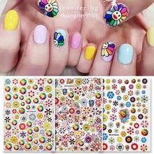 Newest Japanese Sun Flower nail sticker 3d nail art sticker nail decal stamping export japan designs rhinestones