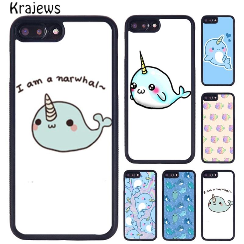 Krajews Kawaii Narwhal mar unicornio caso para iPhone X XR XS 11 Pro MAX 5 se 6 6S 7 7 8 Plus, Samsung Galaxy S7 Edge S8 S9 S10