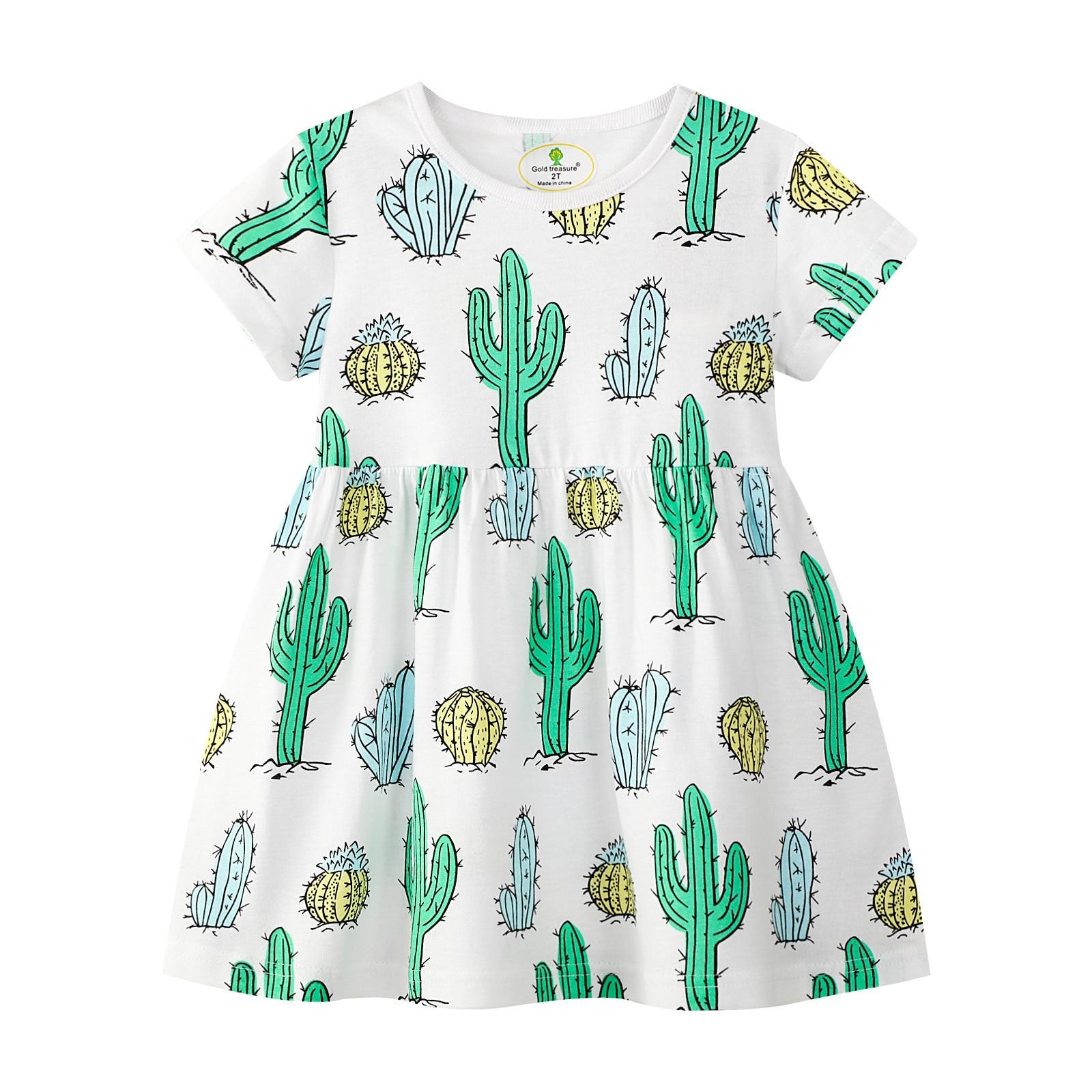 Fashion Girls Clothing Summer Toddler Girls Casual Dress Cacuts Print Children Dress