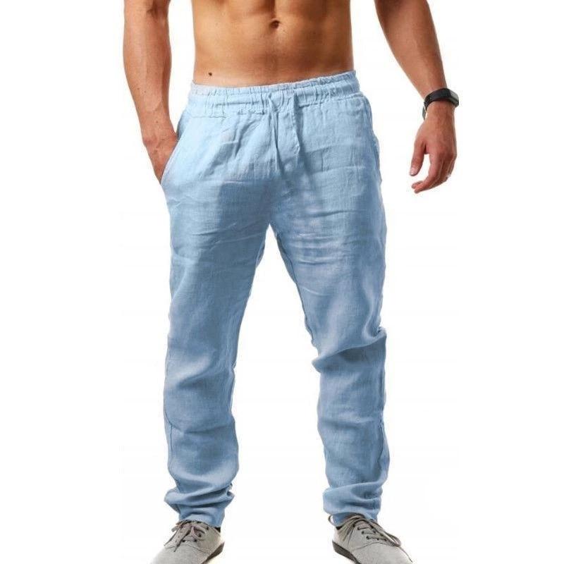 Summer Breathable casual Linen Pants Men Solid Color Linen Fitness Streetwear Loose Pants Men Solids Harem Linen Trousers pants summer men s casual cotton and linen pants loose cotton shorts breathable harem solid calf cropped pants