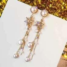 Korean Simulated-Pearl Snowflake Dangle Earrings Women Female Long Chain Tassel Drop Earring Circle Round Jewelry