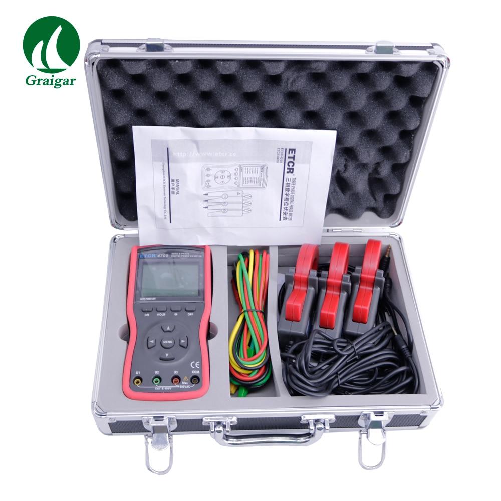 ETCR4700 ثلاث مراحل كامل التلقائي الرقمية المرحلة فولت أمبير المشبك متر التردد 45.00Hz-65.00Hz