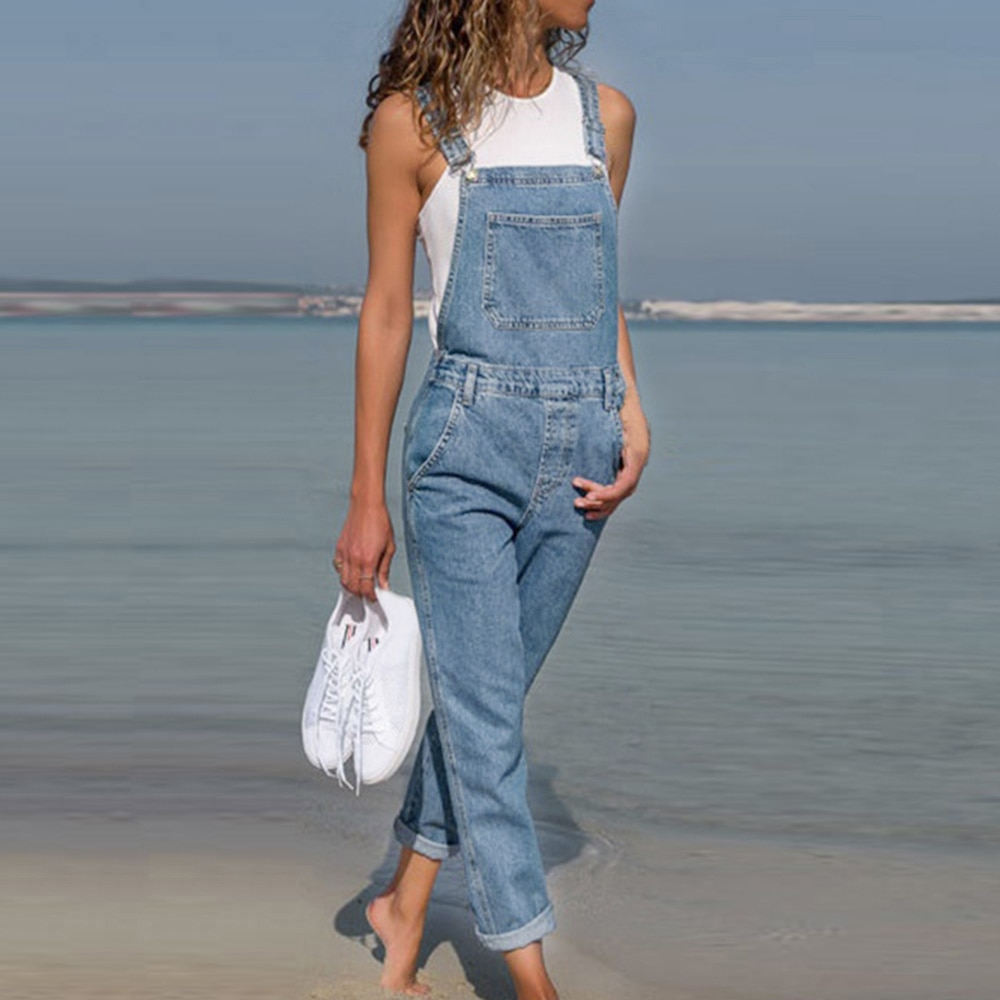 2021 New Fashion Lady Blue Denim Overalls Jumpsuit Rompers Belted Hole Hollow Out Pocket Women Casual Female Pants Hot