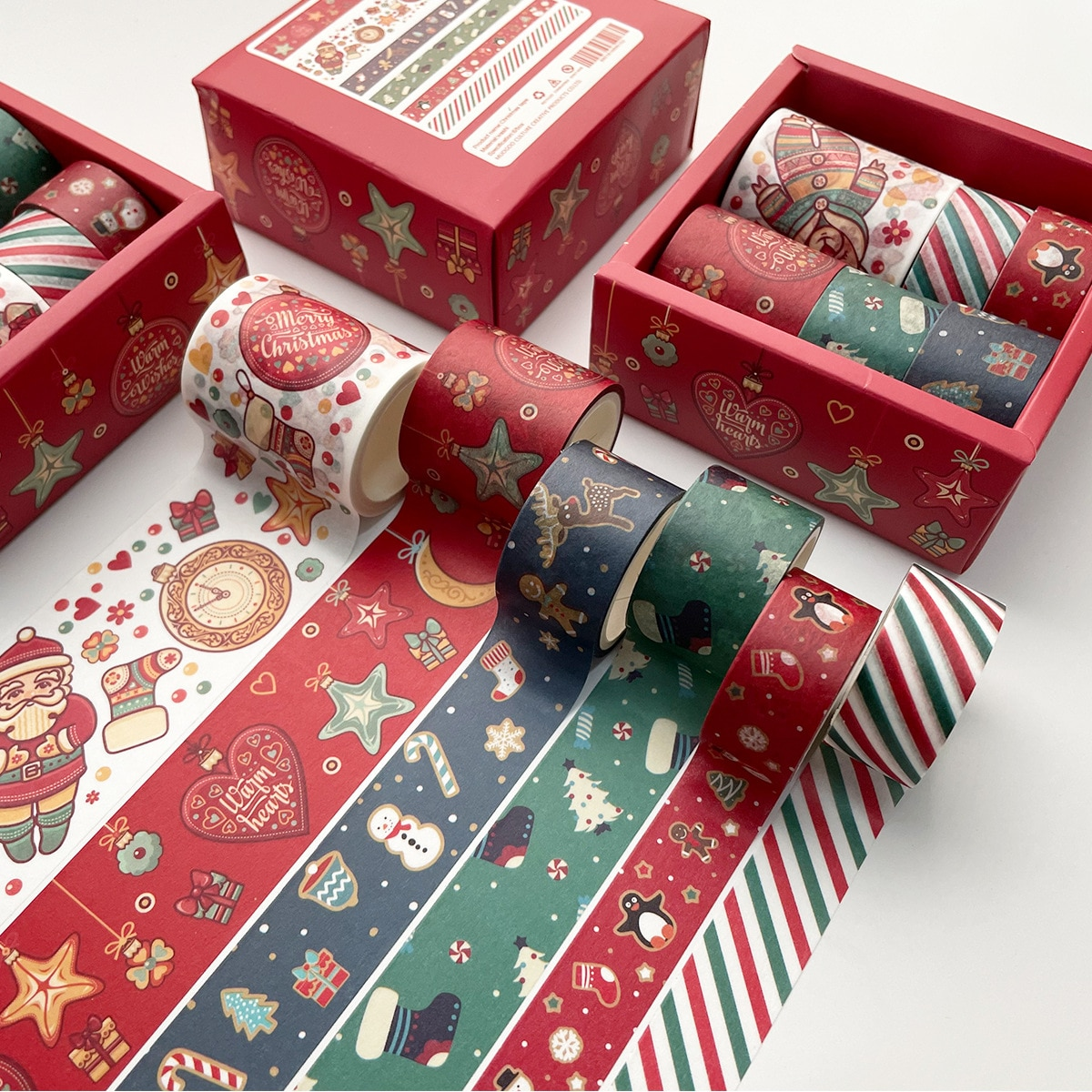 Christmas Washi Tape 6 Rolls Xmas Tape Collection For Holiday Decorations Gifts Wrapping And Present Scrapbooking Arts Crafts