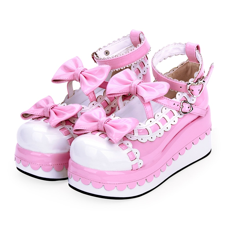 الأميرة منصة الإناث لوليتا أحذية نسائية مقوس دانتيل فستان أحذية أنيمي Kawaii منصة الوردي الأبيض لوليتا حجم كبير 41 42 43 44