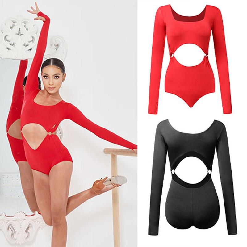 مثير جوفاء حلقة معدنية ارتداءها اللاتينية الرقص أعلى النساء الرقص ممارسة الملابس قاعة الرقص المهنية الحديثة الرقص أعلى SL5692