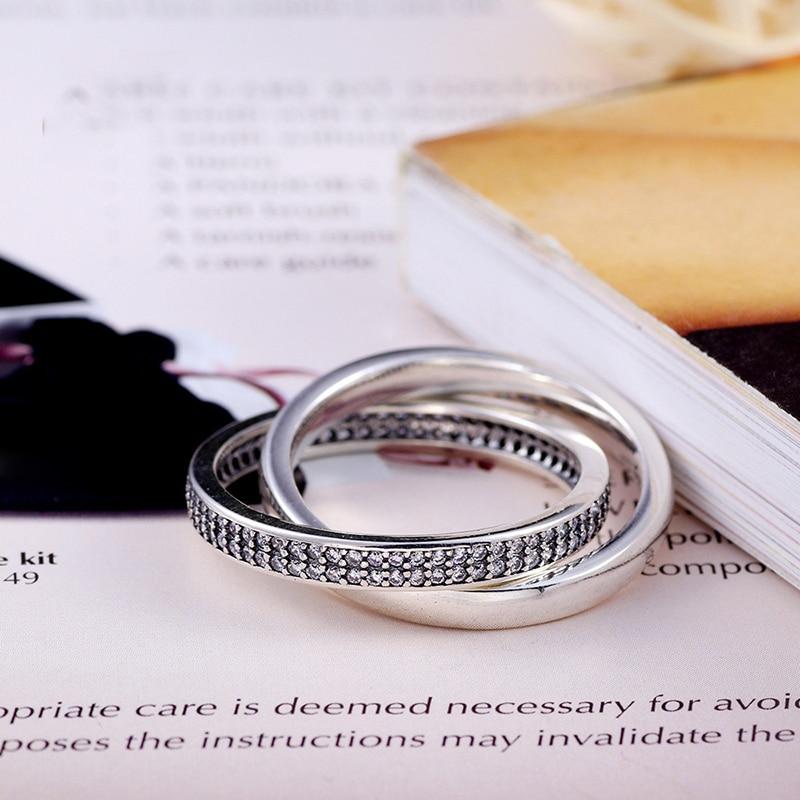 Anillo de compromiso de amor Plata de Ley 925 auténtica a la moda para siempre para mujer, anillo de compromiso para boda, regalo de fiesta, joyería de moda