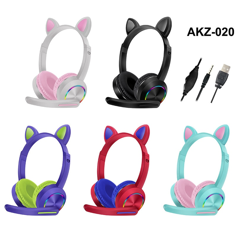AKZ-020 Cat Ear Luminous Head-mounted Headphones With Microphone 3.5mm Gaming Wired Headset Earphone