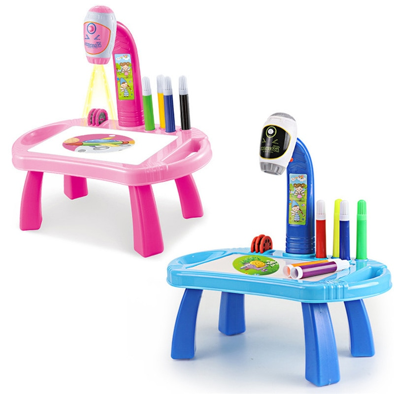 Children Led Projector Art Drawing Table Toys Kids Painting Board Desk Arts and Crafts Projection Educational Learning Toy