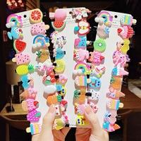 10 шт./компл. Новое изящное нижнее белье с принтом из мультиков для девочек мороженое Единорог заколки для волос милые детские заколки для во...