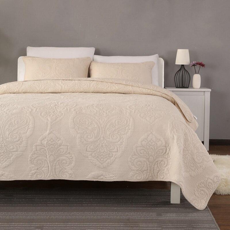 CHAUSUB المفرش لحاف مجموعة شمس 3 قطعة بلون القطن أغطية مطرزة لحاف غطاء السرير ملاءات الملك الملكة حجم بطانية