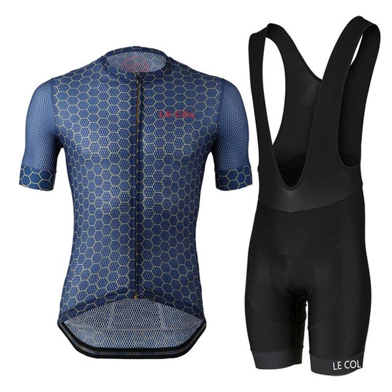 LE COL pro equipo ciclismo jersey conjunto verano ropa para bicicleta de montaña bicicleta jersey ropa deportiva traje medias transpirable maillot ropa