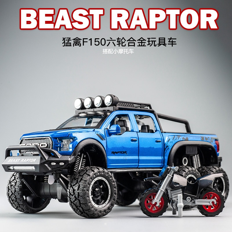 1 32 mini alloy pickup truck ford raptor f150 pick up alloy model toy car for sound and light and sliding car 1:28 Diecast FORD Raptor F150 SUV Metal Model Car Toy Wheels Alloy Vehicle With Moto Sound Light Kid Car Toys For Children Gift