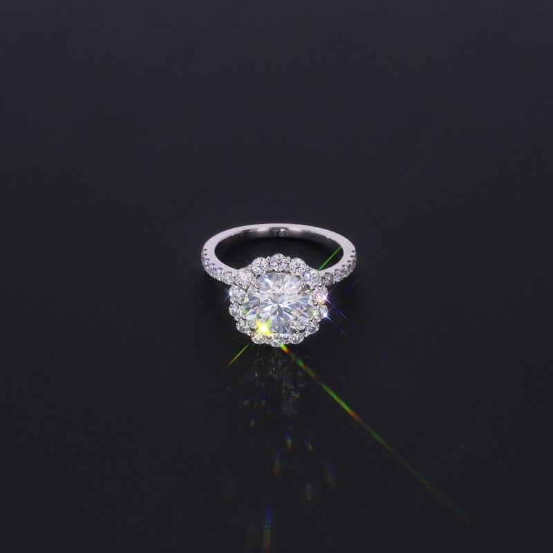 Starszuan-خاتم زواج للنساء ، مرصع بالأحجار الكريمة المويسانتي ، خطوبة رومانسية ، 14 قيراط ، 8 مللي متر ، اختبار DEF ، VVS