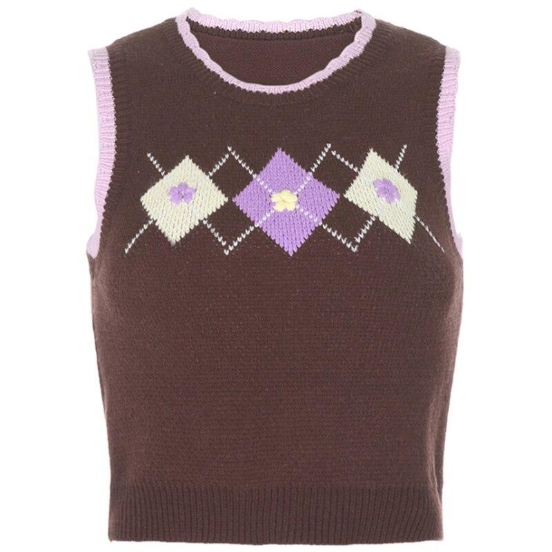 Women Vintage Knit Sleeveless O-Neck Vest Argyle Plaid Jacquard Sweater Tank Top enlarge