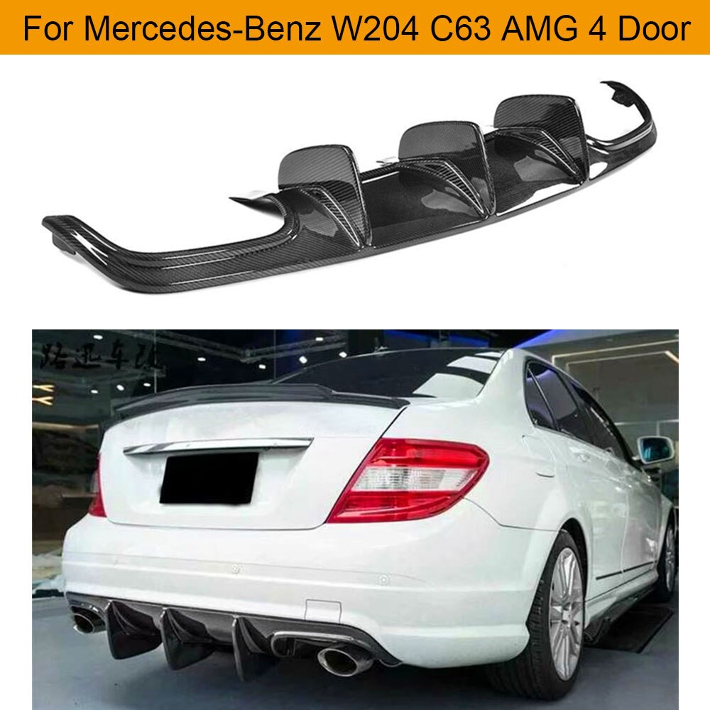 Coche para difusor de parachoques trasero para Mercedes-Benz W204 C63 AMG 4 puerta solo 2009-2011 difusor de parachoques de fibra de carbono Spoiler