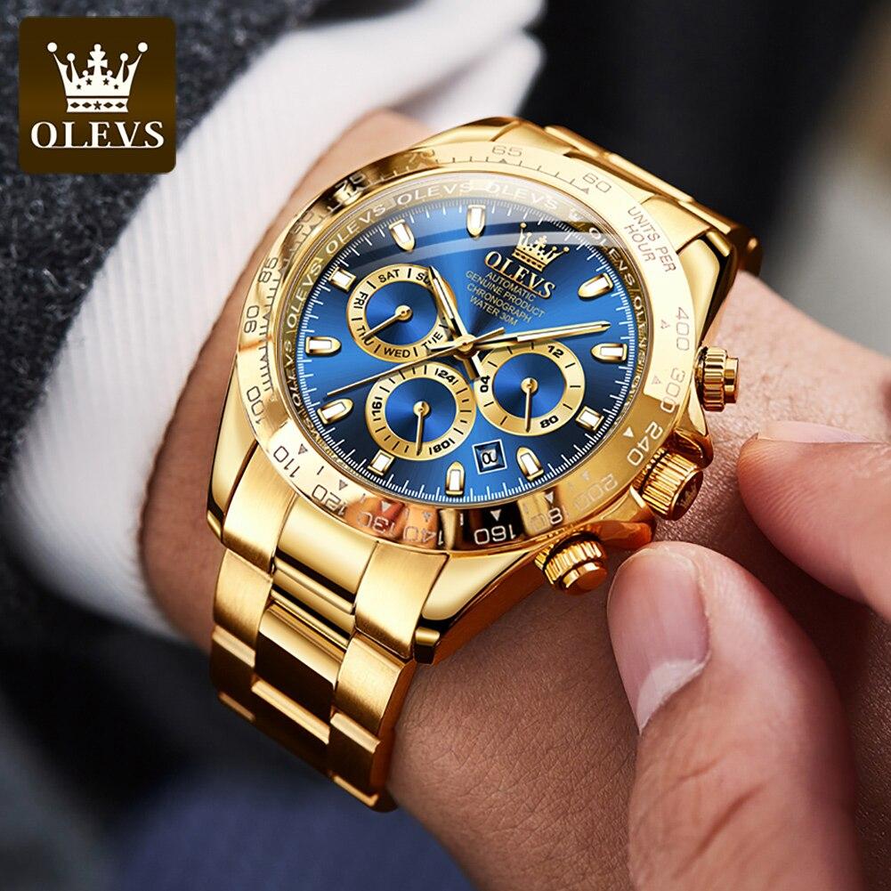 OLEVS Classic Gold Men's Watch Luxury Automatic Mechanical Stainless Steel Waterproof Multifunctional Business Watch Watch