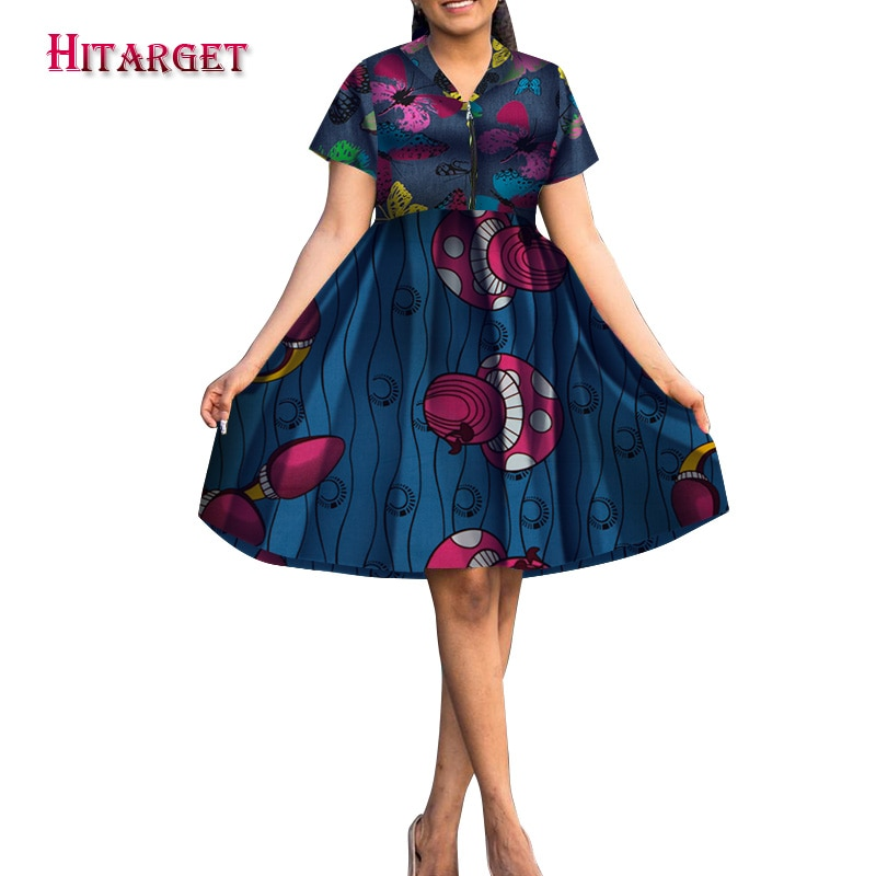 Hitarget 2019 verano Bazin africano Vestidos para mujeres Dashiki Impresión de cera Africana vestidos de empalme ropa tradicional WY5251
