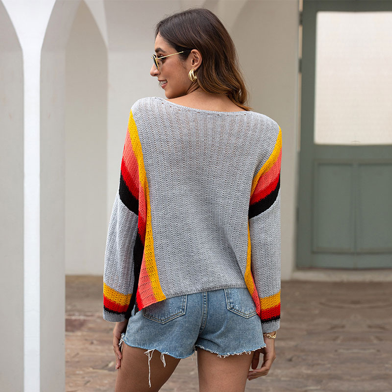 2021 New Thin Contrast Color Striped Knitted Sweater Women Autumn Winter Loose Casual O-neck Full Sleeve Pullovers Sweater Top enlarge