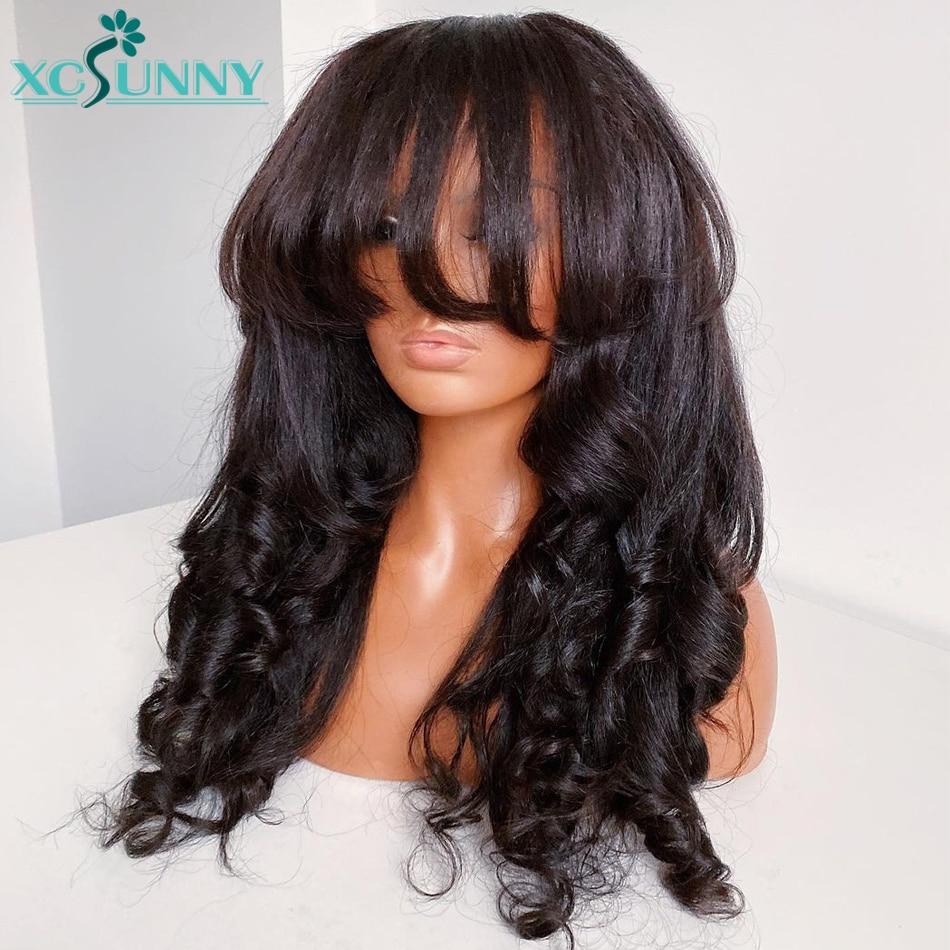 Yaki Wavy Human Hair Wig With Bangs O Scalo Top Full Machine Made Bangs Wig Human Brazilian Hair Remy For Women xcsunny