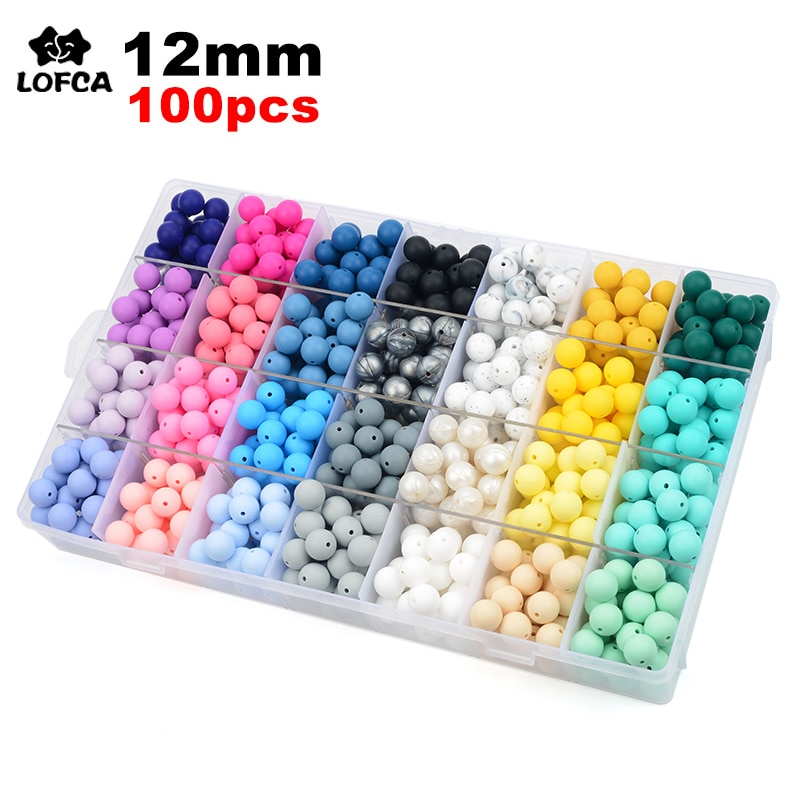 LOFCA 12mm 100pcs Silicone Teething Beads Teether Baby Nursing Necklace Pacifier Clip Oral Care BPA Free Food Grade Colorful