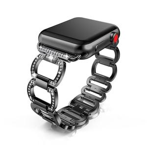 Strap for Apple Watch Band 38mm 40mm 42mm 44mm series 5/4/3/2/1 iwatch band Diamond Rhinestone Metal bracelet Accessories