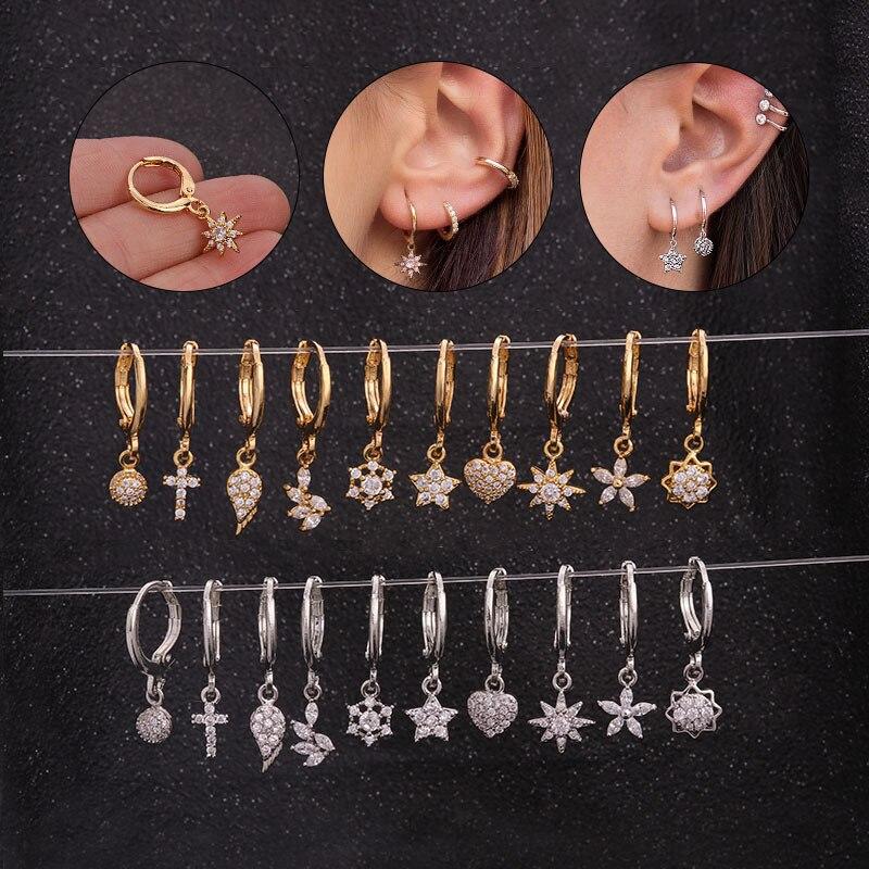 1 PCS Gold Farbe Mix Design Kristall Hoops Minimalistischen Kreis Kreuz Flügel Blume Sterne Anhänger Ohrringe Kupfer Ohr Schmuck