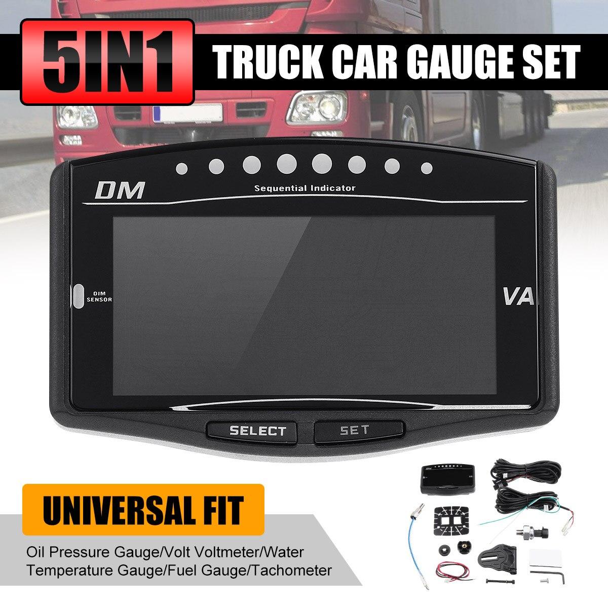 ¡Novedad! Medidor Digital de presión de aceite para coche y camión con LCD 5 en 1 Universal de 12v/24v, voltímetro de voltios, medidor de temperatura del agua y combustible, tacómetro