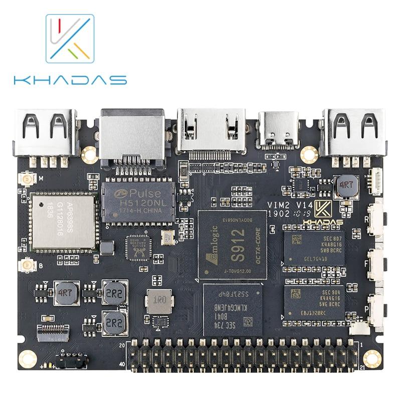Khadas VIM2 Max  Mini PC with Linux Ubuntu Mate 16.04 Support, Octa Core ARM Development Board DDR4 3GB eMMC 64GB AP6398S