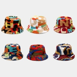 2021 New Winter Hats for Women Print colorful letter number Lady Bucket Hat  outdoor keep warm fluffy Sun Hat soft velvet Panama