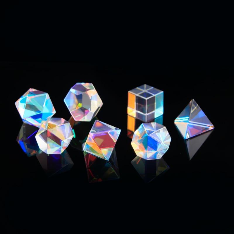 7 قطعة ضوء بريزم صور الحلي سبعة قوس قزح اللون الكريستال عيد الحب صديقة هدية سبعة قطعة بدلة الزجاج البصري